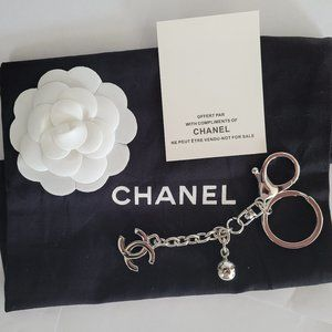 New Chanel Silver key ring or bag charm